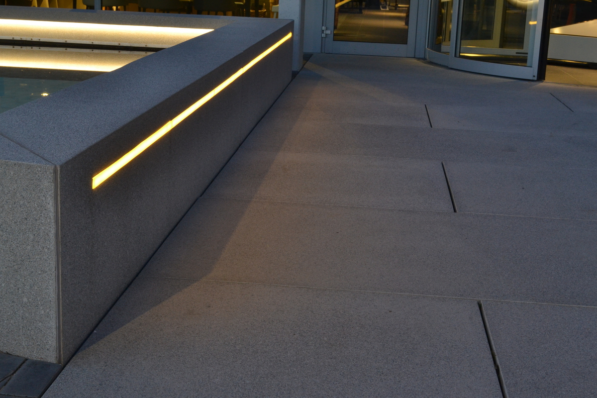 our ledlines have been integrated into the concrete seating walls wwwurbastylecom to guide customers towards the shop entrance